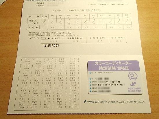 カラーコーディネーター検定 2級 合格
