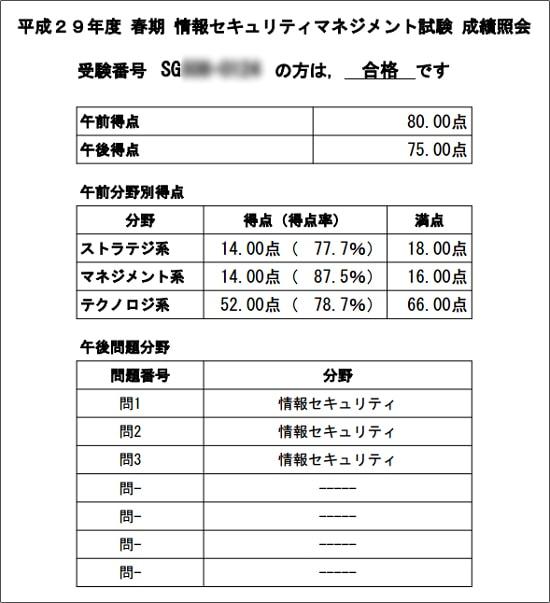 情報セキュリティマネジメント試験 成績